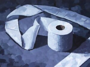 """Original Painting - """"Long Roll of Toilet Paper"""" (12 x 16 inch) by John Wallie"""