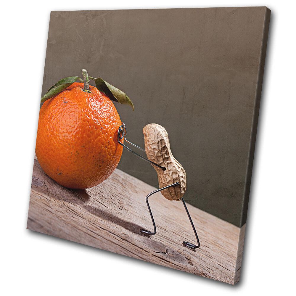 Peanut man arancia Comedy  Food Kitchen SINGLE TELA parete arte foto stampa