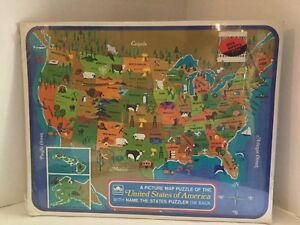 Details about 1968 Golden United States of America Picture Map Puzzle Name  The States Puzzler