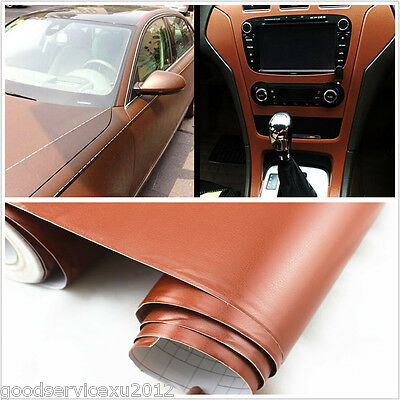 Brown Leather Texture Car SUV Interior Dashboard Film Vinyl Sticker For Cadillac