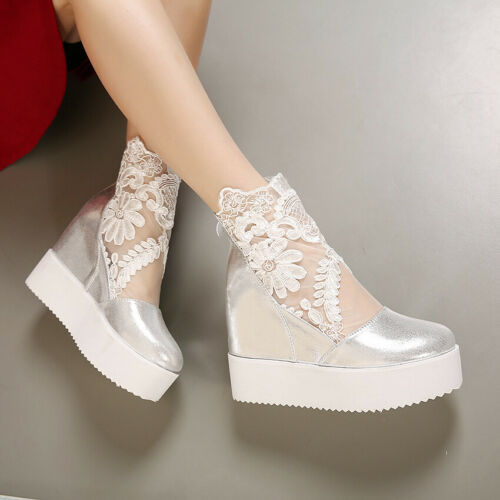 Details about  /Womens Platform Shoes Mesh Lace Floral Wedge Hidden Heels Round Toe Creepers