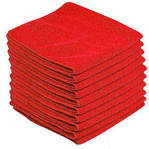 10-x-RED-CAR-CLEANING-DETAILING-MICROFIBER-SOFT-POLISH-CLOTHS-TOWELS-LINT-FREE