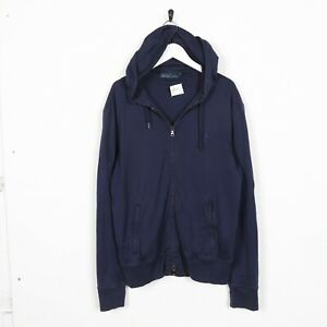 Vintage-FILA-Small-Logo-Zip-Up-Hoodie-Sweatshirt-Navy-Blue-Medium-M