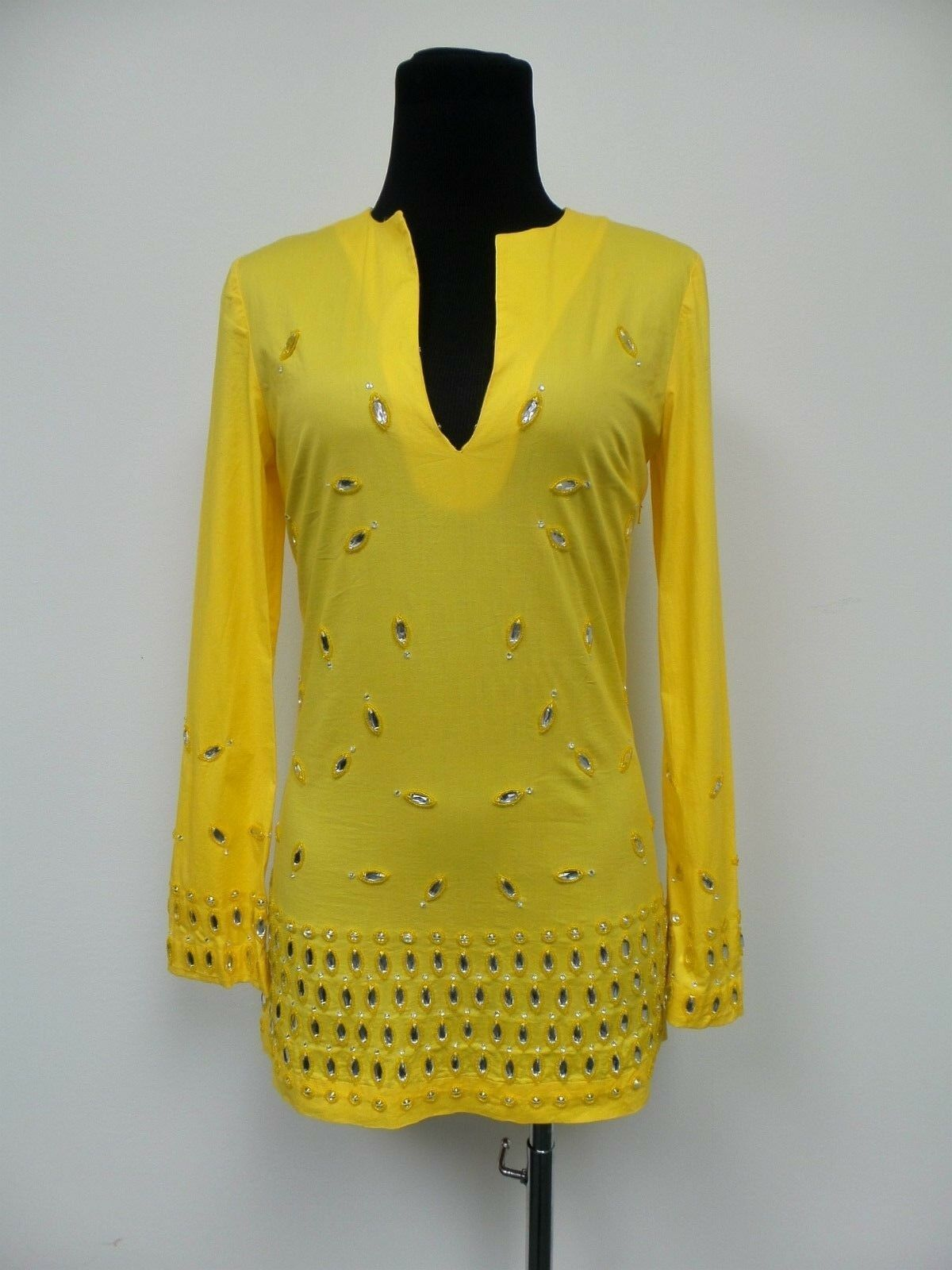 TORY BURCH Yellow Long Sleeves Tunic\Top with Crystals