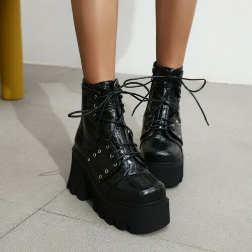 Details about  /Womens Gothic High Block Heels Platform Round Toe Ankle Riding Boots Lace Up NEW