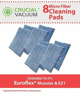 8-Replacements-Euroflex-Monster-EZ1-Washable-Steam-Mop-Pads