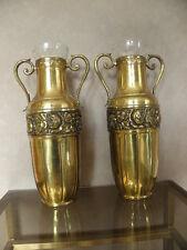 antique art deco french pair vase Royal Palace Copper  brass glass Bottle Pot