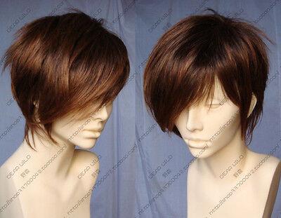 Women Short Light Brown Straight Heat Resistant Men Cosplay Hair Wig Hairnet
