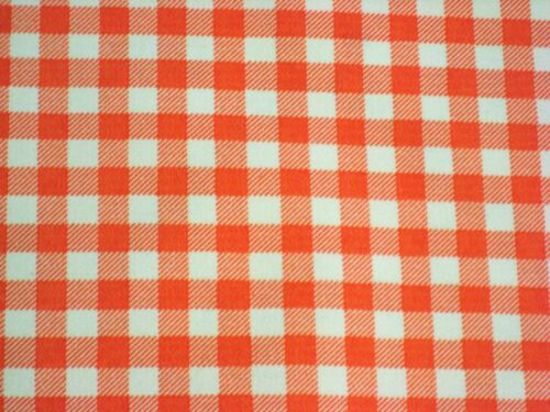ORANGE GINGHAM CHECK SUN WEST COUNTRY OILCLOTH VINYL SEW CRAFT DECOR FABRIC BTY