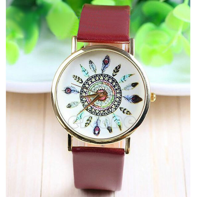 New Womens Vintage Feather Dial Leather Band Quartz Analog Unique Wrist Watches
