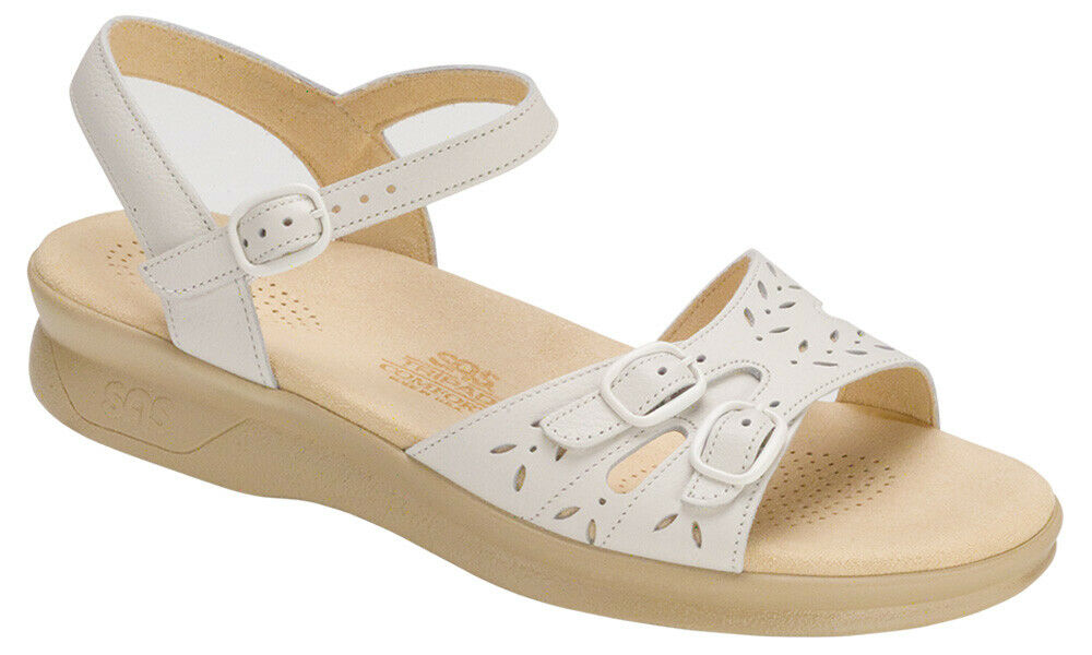 SAS Wouomo scarpe Duo Sandal bianca 10.5 WW Double Wide FREE SHIPPING New In Box
