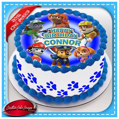 Details About Paw Patrol Edible Cake Topper Image Icing Birthday Party Personalised Decoration