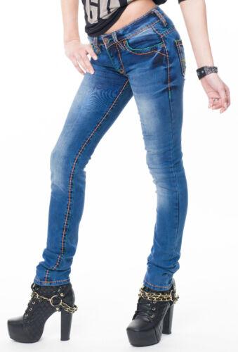 Rock Creek Damen Jeans Hose dicke Nähte Denim Raw Röhrenjeans Gerader Schnitt