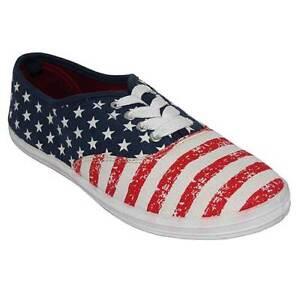 Flat Patriotic USA Flag Lace Up Sport Casuals Canvas Tennis Sneaker ... c1b66ef538d