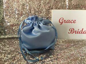EMERALD GREEN SATIN DOLLY BAG BRIDESMAID PROM FLOWER GIRL BNIP ** free samples*