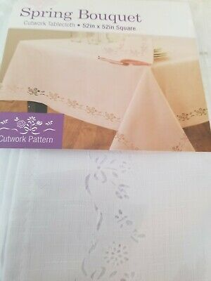 Spring Easter Bouquet Cutwork Tablecloth Green Upick Size NEW