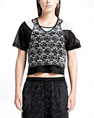 Nike WL Women's Lace Tee Top 704678-010 Two-In-One BLACK NWT Shirt