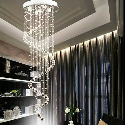 Luxury K9 Crystal Pendant Lamp Ceiling Light Spiral Lighting RainDrop Chandelier