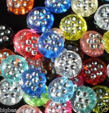 150pcs silver spot drill assorted acrylic disc bead10mm