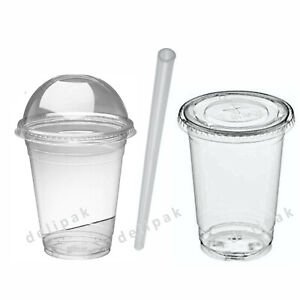 Disposable-Smoothie-Cups-Domed-Lids-Plastic-Milkshake-Glasses-Glass-Party-Cup