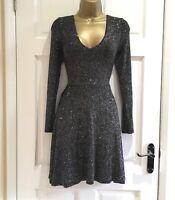 LIPSY Glam Sparkly Glitter Plunge Neck Black Skater Party Dress SZ 4 8 10 12 14