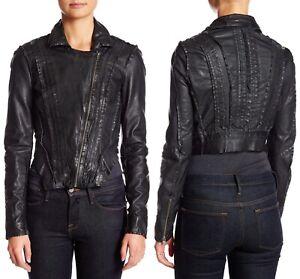 Muubaa Marieta Womens Laced Leather Crop Biker Moto Jacket Black Size UK 10 US 6