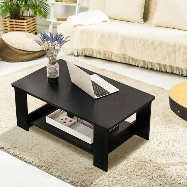 Round Wood Coffee Table Storage Drawer Shelf Circular Small Sofa Living Room Top For Sale Online Ebay