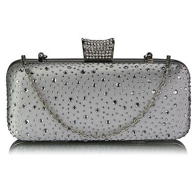 Ladies Women's Night Out Evening Classy Evening Clutch Bag Crystal Diamante UK