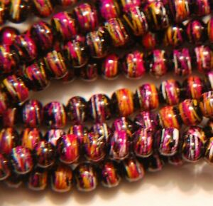 Size 6mm. 100 x Fuchsia Pink Baking Painted Drawbench Round Glass Beads