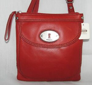 384a40b46e31 NEW FOSSIL MADDOX SCARLET RED LEATHER+SILVER TONE HARDWARE MINI ...