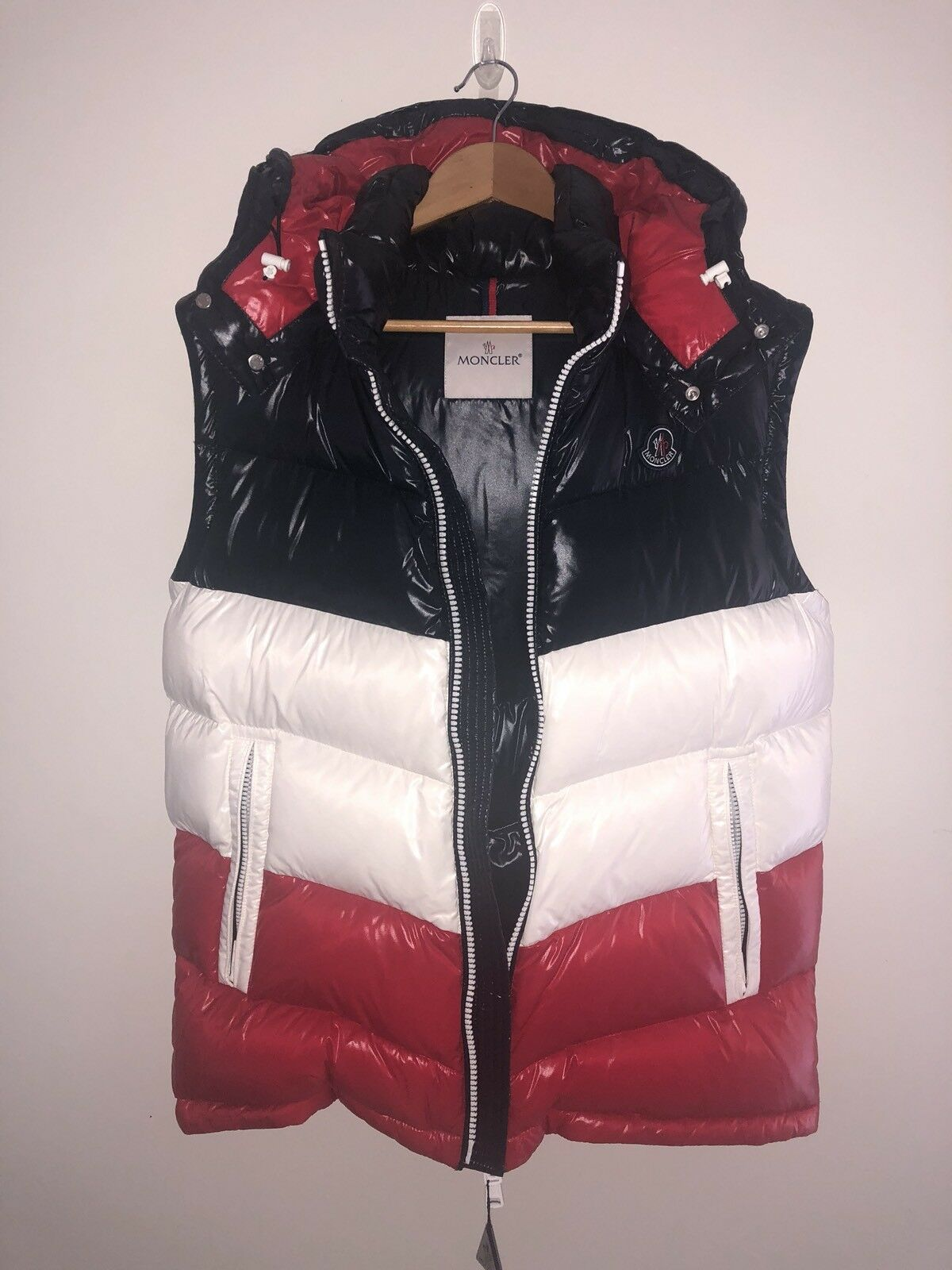 Kith x Moncler Pelat Gilet Hooded Vest Größe 3 Large in navy/ROT Brand New 100%