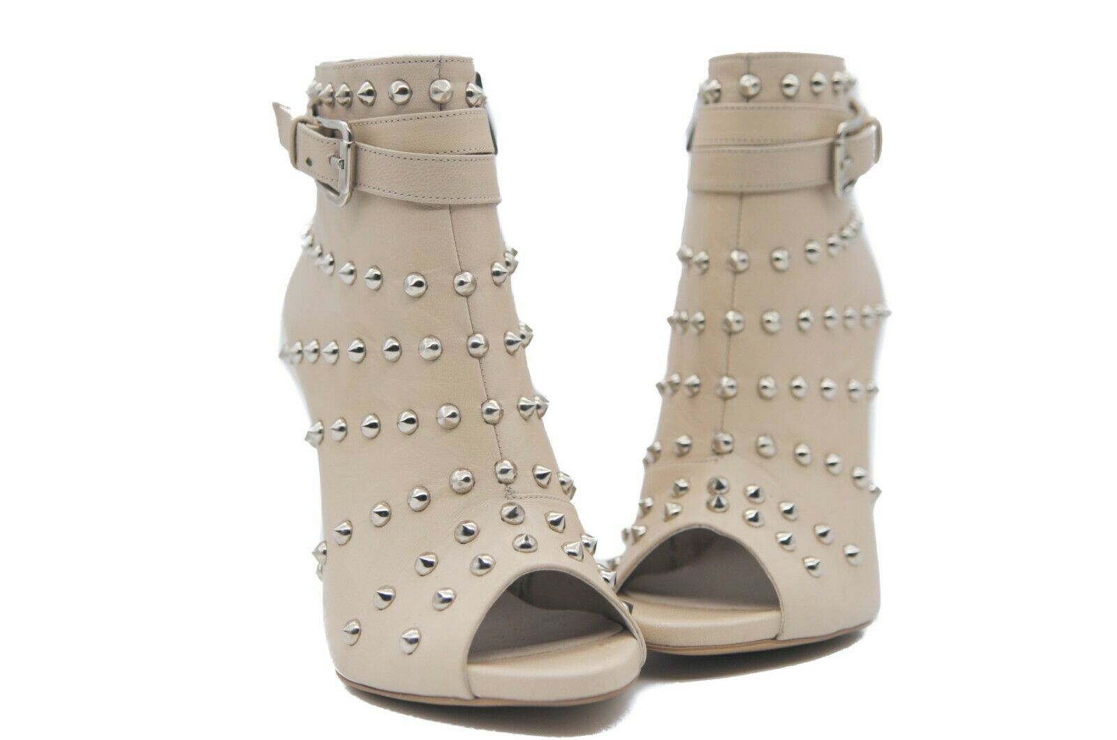 Goody2shoes Ladies' Light Caramel Leather Peep Toe shoes Boot with Silver Studs