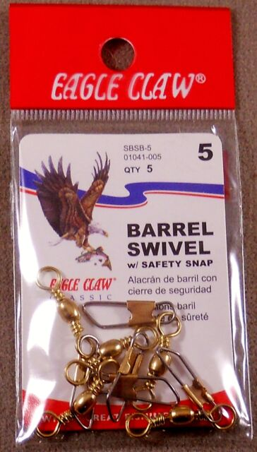 3 1 Eagle Claw Barrel Swivel w// Safety Snap Size