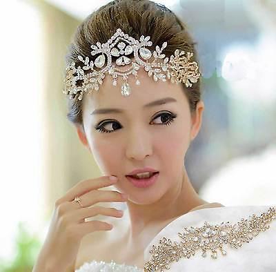 Vintage Style Wedding Rhinestone Crystal Gold Headpiece Hair Chain Tiara Crown