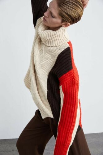 Details about  /Zara AW18 Woman Colour Block Cable Knit Sweater Size M 6873//110 NWT