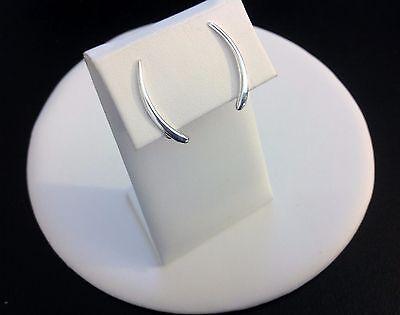Plain Climber Earrings-All Sterling Silver 925-Sweep-Ear Crawler-Tapered-Modern