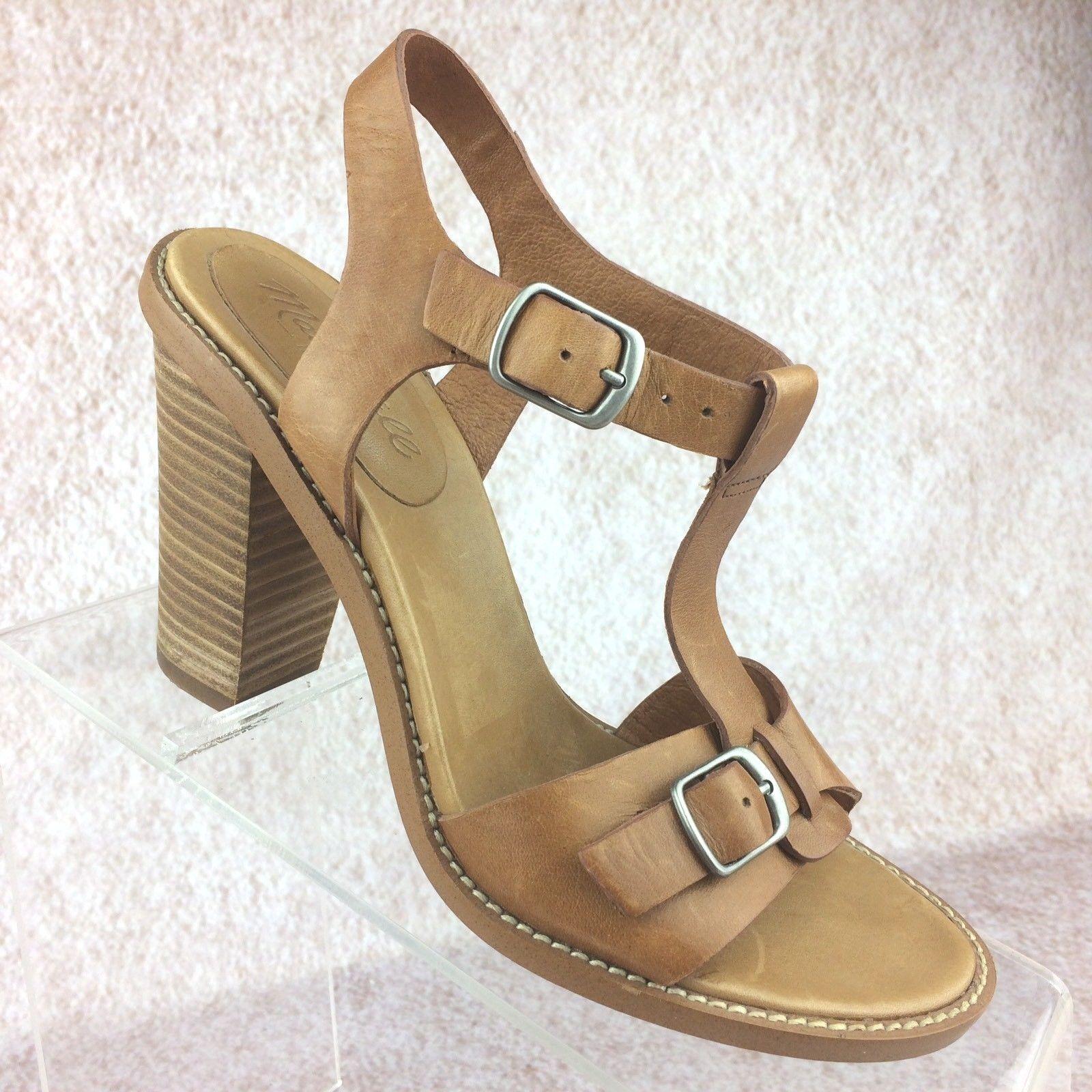 Madewell The Loren Heel T-Strap High Heel Sandale Tan Cognac Braun Größe 5.5 US