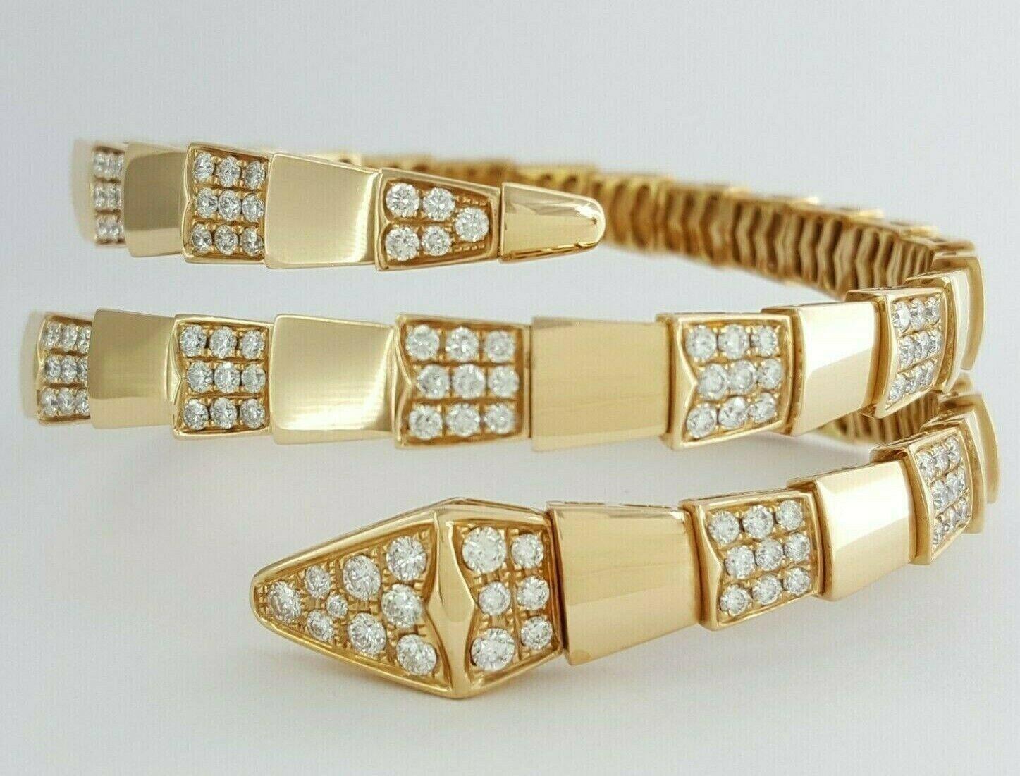 Serpenti Viper Snake Two Row Pave 6 ct Round Diamond Bracelet 18k pink gold 65gm