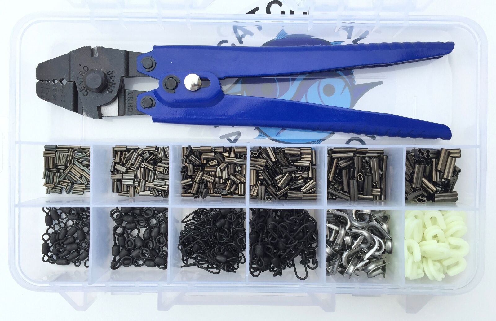 Premium Rigging Kit CN-10 Crimper,Copper Crimps,Swivels, Snaps,Thimbles