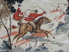 """Diseño de la Tela De Cortina Linwood """"Tally Ho Horse & Sabueso"""" 6 metros de Terciopelo (600 Cm)"""