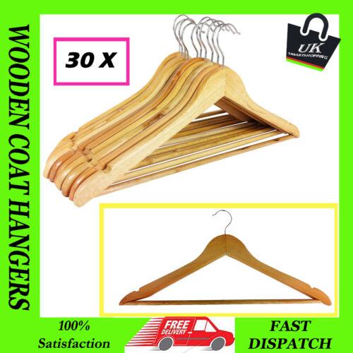 Nouveau 30 x en bois cintres pantalon à vêtements Vêtements Cintre bar