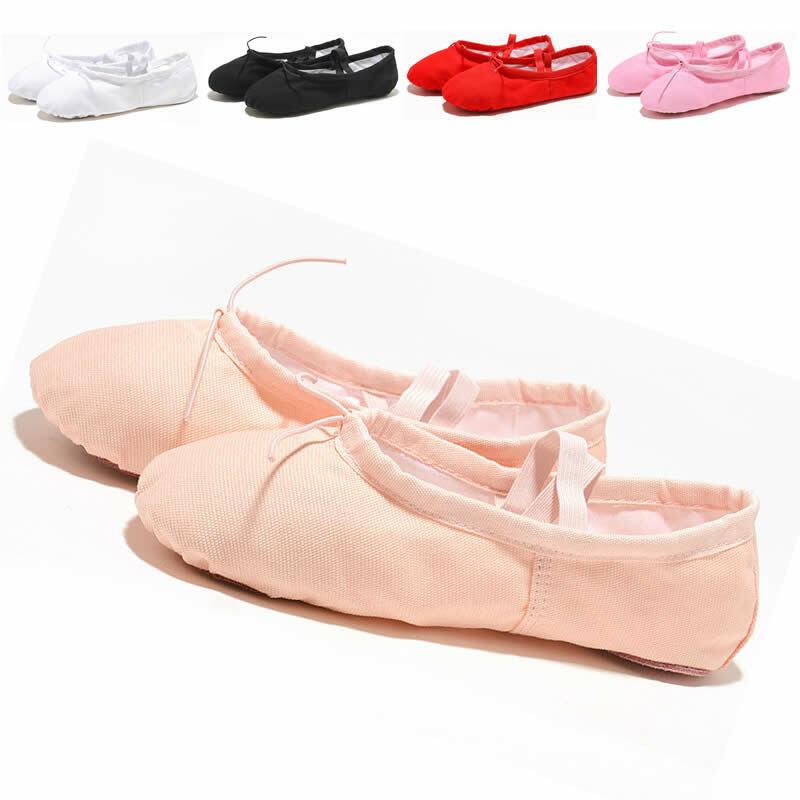 Soft Ballet Shoes Dance shoes With Laces Split Sole Girls kids Adults Yoga Shoes