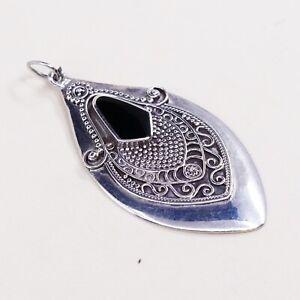 Vtg-Sterling-Silver-Handmade-Pendant-solid-925-Bali-w-Obsidian-stamped-925