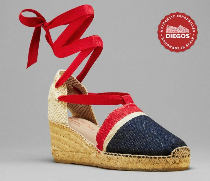 Diegos® Authentic Handmade stripes Espadrilles   America stripes Handmade high wedge schuhe c71eed