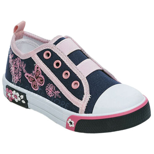 GIRLS CHILDREN CANVAS SHOES SUMMER PUMPS CASUAL TRAINERS FLAT LOW TOP PLIMSOLLS