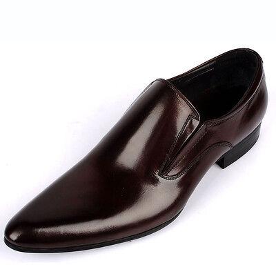 Genuine burgundy black Leather slip on loafer formal dress Shoes men oxford shoe