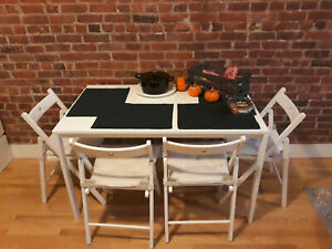 Details about Kitchen table with 4 foldable chairs