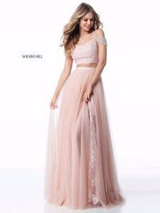 27d718bd303f2 Sherri Hill 51771 Blush Pink Lace Crop Top Gown Dress sz 00