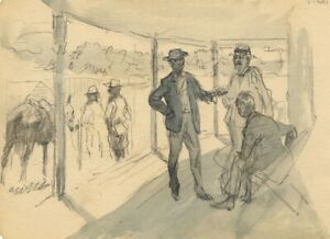 Gentlemen on the Porch at Tiaro – Original late 19th-century graphite drawing