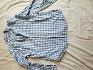Homme-TU-Carreaux-Bleu-Chemise-a-manches-longues-taille-XL-46-034-Poitrine
